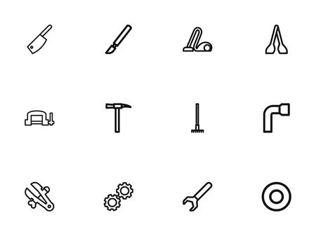 Set Of 12 Editable Instrument Outline Icons. Includes Symbols Such As Spacer, Cogwheel, Butcher Knife And More. Can Be Used For Web, Mobile, UI And Infographic Design. Illustration