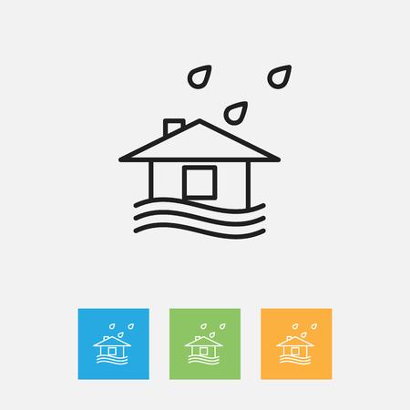 Vector Illustration Of Climate Symbol On Building Outline. Premium Quality Isolated Stormy Element In Trendy Flat Style.