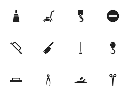 Set Of 12 Editable Instrument Icons. Includes Symbols Such As Chisel Scraper, Handsaw, Tongs