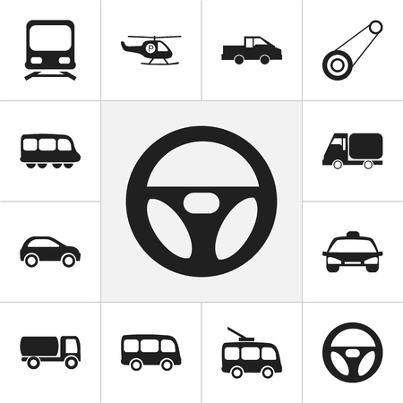 camion: Set Of 12 Editable Transport Icons. Includes Symbols Such As Drive Control, Travel Pickup, Truck And More. Can Be Used For Web, Mobile, UI And Infographic Design.