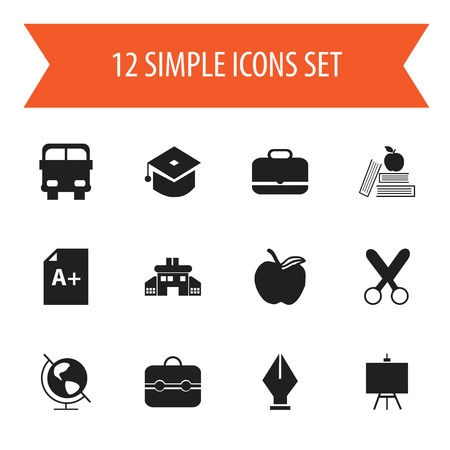 nib: Set Of 12 Editable Education Icons. Includes Symbols Such As Nib, Page, Trunk And More. Can Be Used For Web, Mobile, UI And Infographic Design.