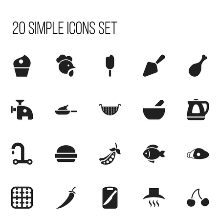 Set Of 20 Editable Cooking Icons. Includes Symbols Such As Lamb Leg, Fast Food, Berry And More