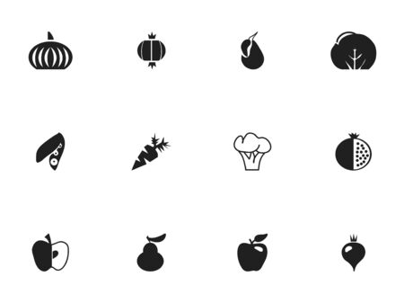 Set Of 12 Editable Fruits Icons. Includes Symbols Such As Duchess, Root Vegetable, Avocado And More Illustration