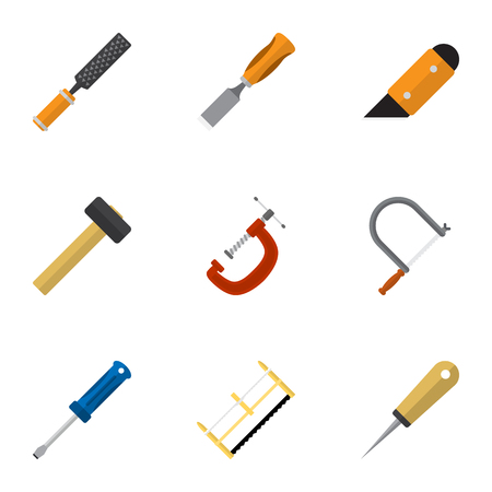 Set Of 9 Editable Instrument Flat Icons. Includes Symbols Such As Turn-Screw, Rasp, Bodkin And More
