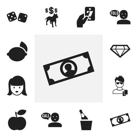 12 編集可能なビジネスのアイコンのセットです。バケット、石灰およびより多くの通貨、ボトルなどの記号が含まれています