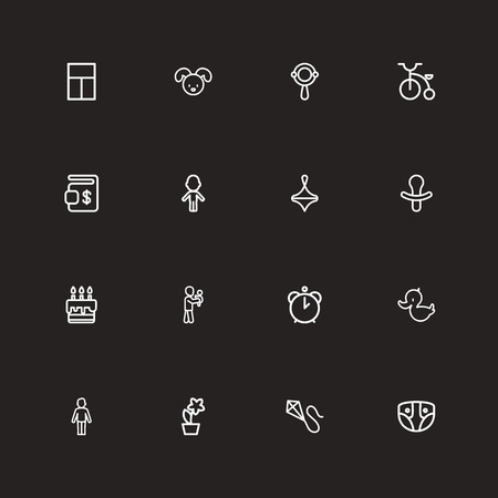 Set Of 16 Editable Folks Outline Icons. Includes Symbols Such As Rattle, Velocipede, Girl And More