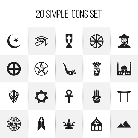Set Of 20 Editable Dyne Icons. Includes Symbols Such As Blessing, Shinto, Mohammedanism And More. Can Be Used For Web, Mobile, UI And Infographic Design.