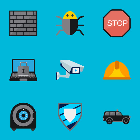 private security: Set Of 9 Editable Procuring Flat Icons. Includes Symbols Such As Hatchback, Security Camera, Lock And More. Can Be Used For Web, Mobile, UI And Infographic Design.
