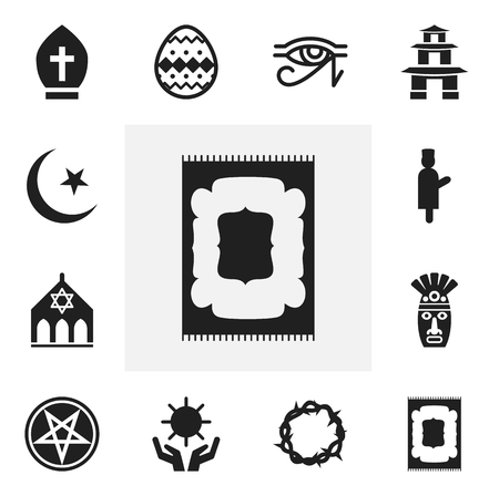Set Of 12 Editable Religion Icons. Includes Symbols Such As Begging, Baphomet Symbol, Solar And More. Can Be Used For Web, Mobile, UI And Infographic Design.