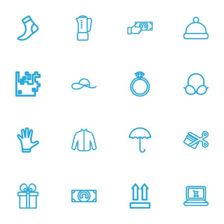 編集可能な 16 のショッピング概要アイコンをセットします。宝石、ポンポム、ブラなどの記号が含まれています。Web、モバイル、UI、インフォ グラ