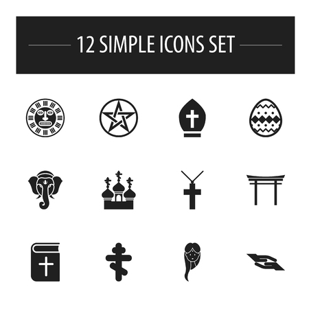 Set Of 13 Editable Religion Icons Includes Symbols Such As Shinto
