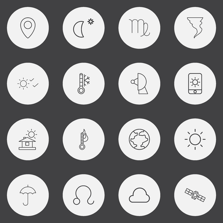 Set Of 16 Editable Weather Outline Icons. Includes Symbols Such As Satellite, Tornado, Cloud And More. Can Be Used For Web, Mobile, UI And Infographic Design.
