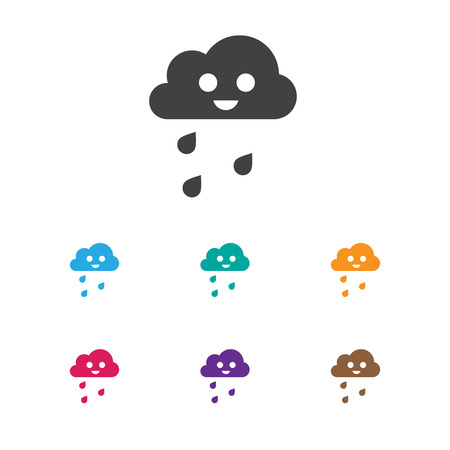 rainy season: Vector Illustration Of Air Symbol On Drizzle Icon. Premium Quality Isolated Hail Element In Trendy Flat Style.