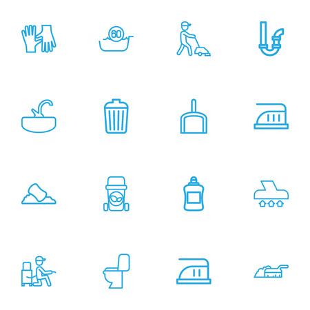 Satz von 16 bearbeitbaren Hygiene-Umriss-Icons. Enthält Symbole wie maximale Leistung, Siphon, Sink und mehr. Kann für Web, Mobile, UI und Infografik Design verwendet werden. Vektorgrafik