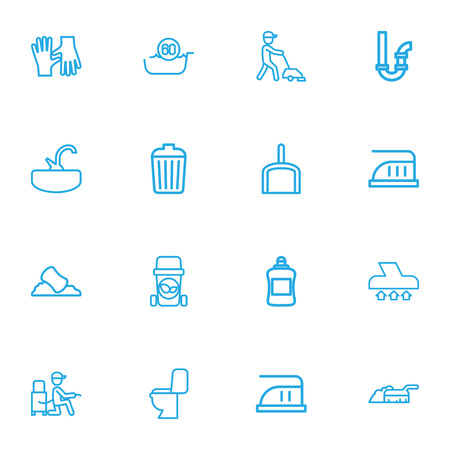 Set Of 16 Editable Hygiene Outline Icons. Includes Symbols Such As Maximum Power, Siphon, Sink And More. Can Be Used For Web, Mobile, UI And Infographic Design.