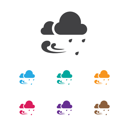 Vector Illustration Of Air Symbol On Rainstorm Icon. Premium Quality Isolated Tempest   Element In Trendy Flat Style.