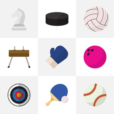 Ensemble de 9 icônes plats exercice modifiable. Comprend des symboles tels que Washer, Kegling, Darts, etc. Peut être utilisé pour Web, Mobile, UI et conception infographique. Banque d'images - 85539596