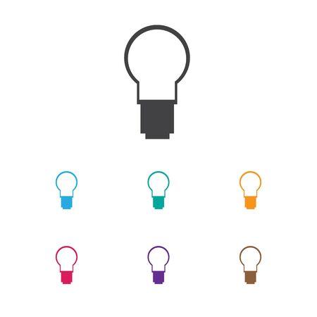 Illustrazione vettoriale del simbolo di ufficio sull'icona della lampadina. Elemento leggero isolato di qualità premium in stile piatto alla moda. Archivio Fotografico - 85539644
