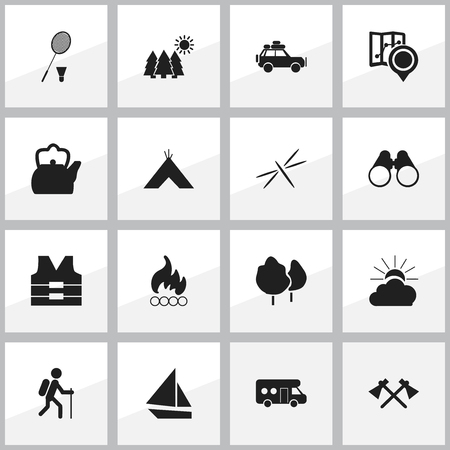 Set Of 16 Editable Trip Icons. Includes Symbols Such As Kettle, Damselfly, Gait And More. Can Be Used For Web, Mobile, UI And Infographic Design.