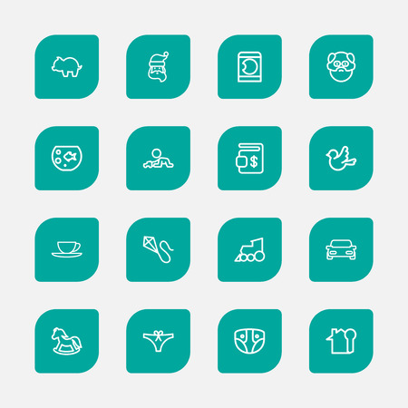 Set Of 16 Editable Folks Outline Icons. Includes Symbols Such As Key, Automobile, Laundress And More. Can Be Used For Web, Mobile, UI And Infographic Design.
