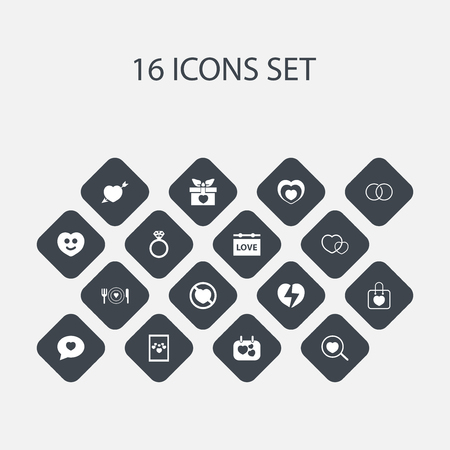 pareja comiendo: Set Of 16 Editable Heart Icons. Includes Symbols Such As Heartbeat, Passion, Divorce And More. Can Be Used For Web, Mobile, UI And Infographic Design. Vectores