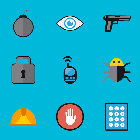 sports equipment: Set Of 9 Editable Security Flat Icons. Includes Symbols Such As Dynamite, Look, Hardhat And More. Can Be Used For Web, Mobile, UI And Infographic Design.