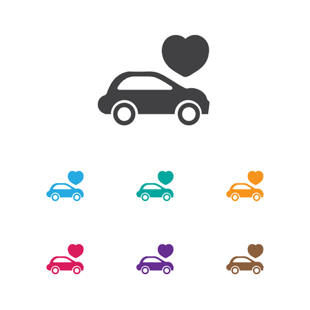 Vector Illustration Of Amour Symbol On Automobile Icon. Premium Quality Isolated Car Element In Trendy Flat Style.