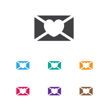 Vector Illustration Of Folks Symbol On Heart Mail Icon. Premium Quality Isolated Affection Letter Element In Trendy Flat Style. Ilustração