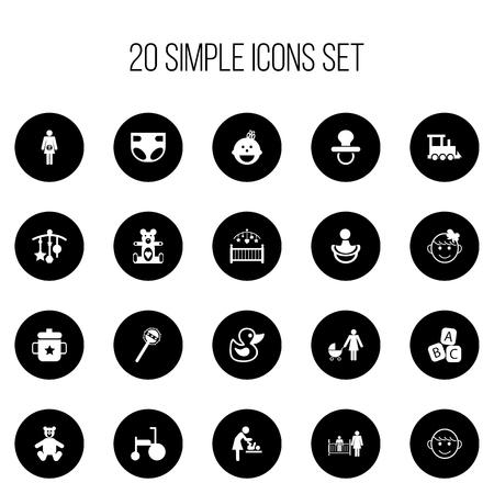 Conjunto de 20 iconos editables para niños. Incluye símbolos como el chupete, Goplet, juguetes para el baño y más. Se puede usar para diseño web, móvil, de interfaz de usuario y de infografía.