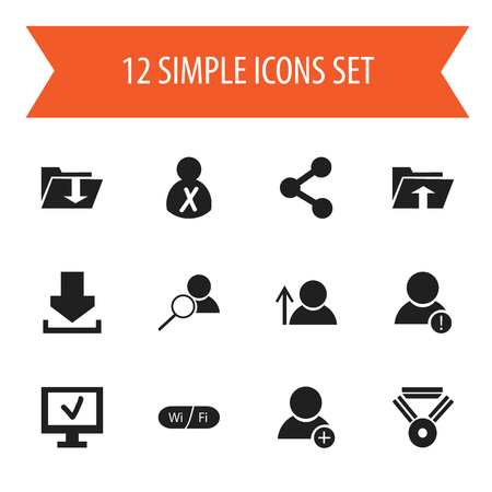 addition: Set Of 12 Editable Web Icons. Includes Symbols Such As Magnifier, Computer, Medal And More. Can Be Used For Web, Mobile, UI And Infographic Design. Illustration