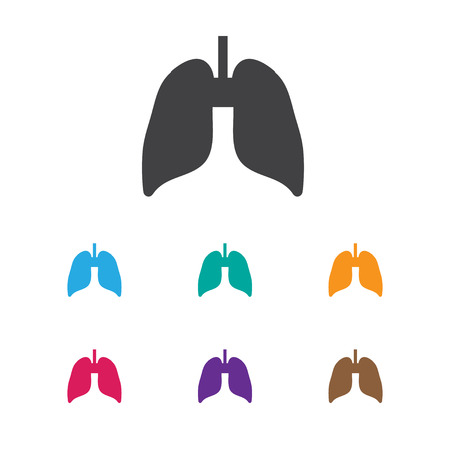 Vector Illustration Of Health Symbol On Lung Icon. Premium Quality Isolated Respiratory Organ Element In Trendy Flat Style.