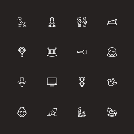 Set Of 16 Editable Folks Outline Icons. Includes Symbols Such As Rattle, Child, Son And More. Can Be Used For Web, Mobile, UI And Infographic Design. Ilustração