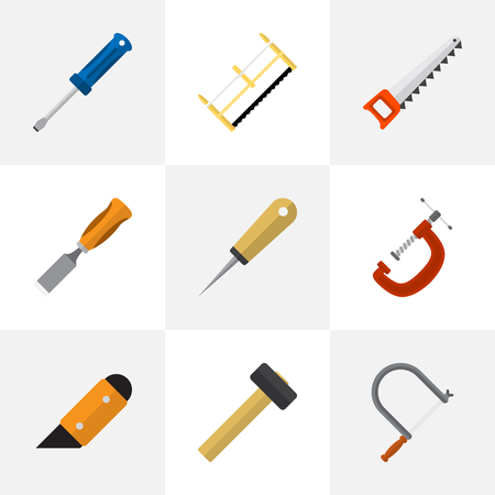 Set Of 9 Editable Tools Flat Icons. Includes Symbols Such As Bodkin, Clinch, Knife And More. Can Be Used For Web, Mobile, UI And Infographic Design.