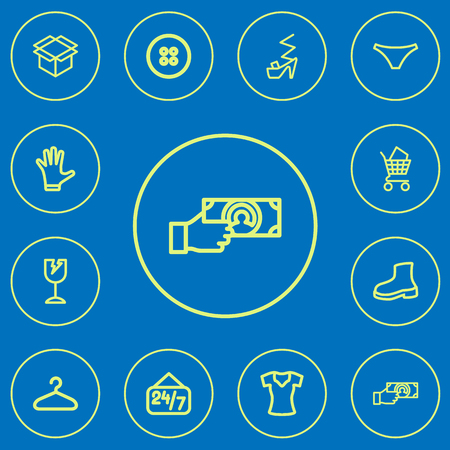 12編集可能なショッピングアウトラインアイコンのセット。ヒールシュー、ボタン、割れたガラスなどのシンボルが含まれています。Web、モバイル、