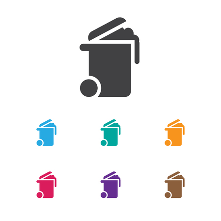 Vector Illustration Of Cleanup Symbol On Bin Icon. Premium Quality Isolated  Container Element In Trendy Flat Style.