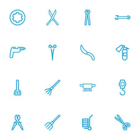 Set Of 16 Editable Tools Outline Icons. Includes Symbols Such As Drill, Screw Head, Garden Scissors And More. Can Be Used For Web, Mobile, UI And Infographic Design.