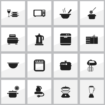 Set Of 16 Editable Restaurant Icons. Includes Symbols Such As Skimmer, Saucepan, Bowl And More. Can Be Used For Web, Mobile, UI And Infographic Design.