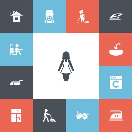 Set Of 13 Editable Cleanup Icons. Includes Symbols Such As Floor Dusting, Laundress, Pure Home And More