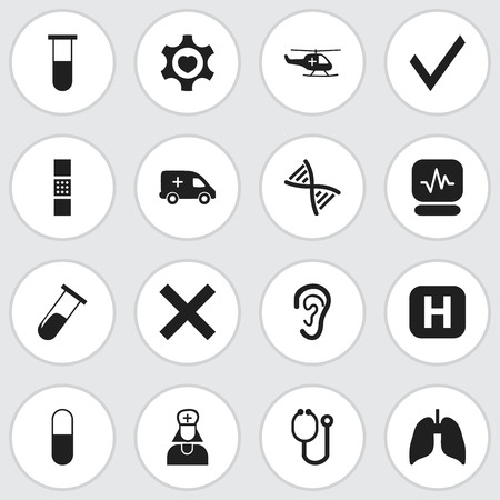 pharmacy symbol: Set Of 16 Editable Care Icons. Includes Symbols Such As Drug, Test Tube, Respiratory Organ And More