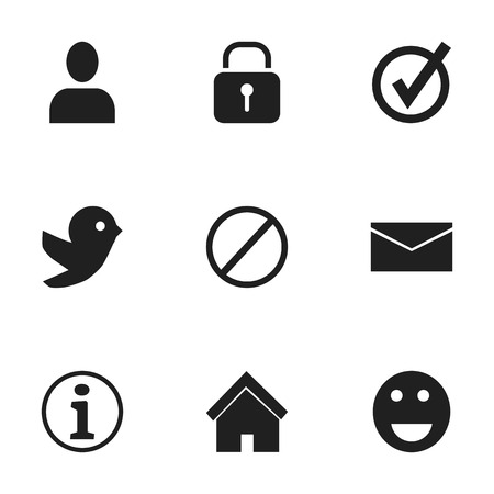 edifice: Set Of 9 Editable Network Icons. Includes Symbols Such As Profile, Emoji, Security And More