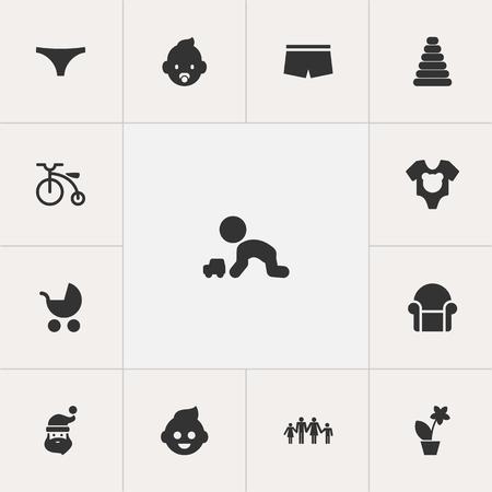 Set Of 13 Editable Folks Icons. Includes Symbols Such As Bodysuit , Perambulator, Grandpa