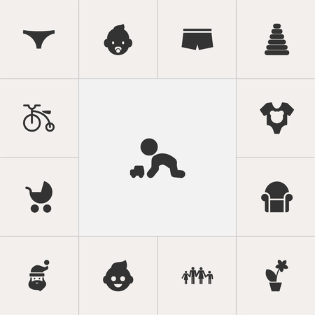 Ensemble de 13 icônes de gens modifiables. Comprend des symboles tels que Body, Perambulator, Grand-père