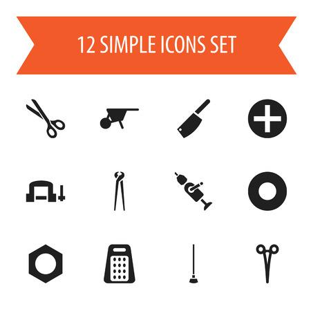 Set Of 12 Editable Equipment Icons. Includes Symbols Such As Pincers, Shredder, Equipment And More Ilustração