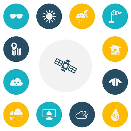 Set Of 13 Editable Climate Icons