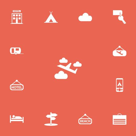 apartment bell: Set Of 13 Editable Trip Icons. Includes Symbols Such As Signboard, Overcast, Entrance And More. Can Be Used For Web, Mobile, UI And Infographic Design.
