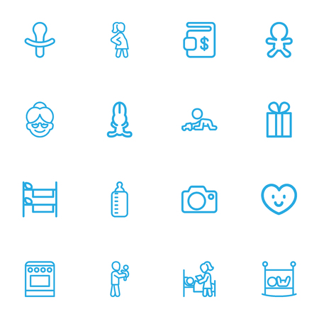 Set Of 16 Editable Folks Outline Icons. Includes Symbols Such As Milk, Pregnancy, Bunk And More. Can Be Used For Web, Mobile, UI And Infographic Design. Ilustração
