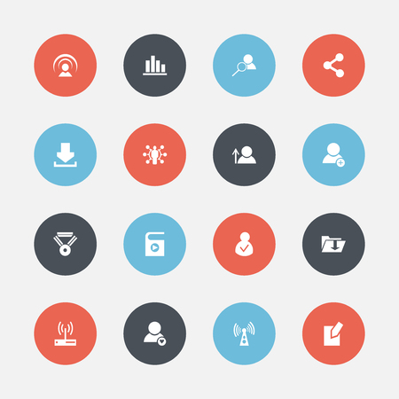 Set Of 16 Editable Web Icons. Includes Symbols Such As Connection, Line Chart, Publish And More. Can Be Used For Web, Mobile, UI And Infographic Design. Illustration
