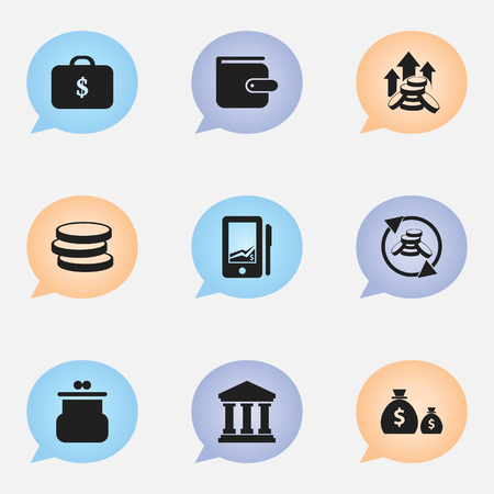 monitor: Set Of 9 Editable Financial Icons. Includes Symbols Such As Market, Edifice, Pouch And More. Can Be Used For Web, Mobile, UI And Infographic Design.