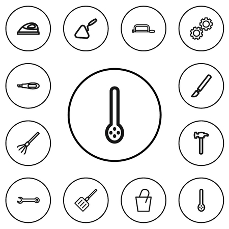 Set Of 12 Editable Equipment Outline Icons. Includes Symbols Such As Spatula, Cogwheel, Pail And More. Can Be Used For Web, Mobile, UI And Infographic Design. Illustration