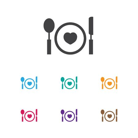 pareja comiendo: Vector Illustration Of Passion Symbol On Plate Icon. Premium Quality Isolated Cutlery Element In Trendy Flat Style.